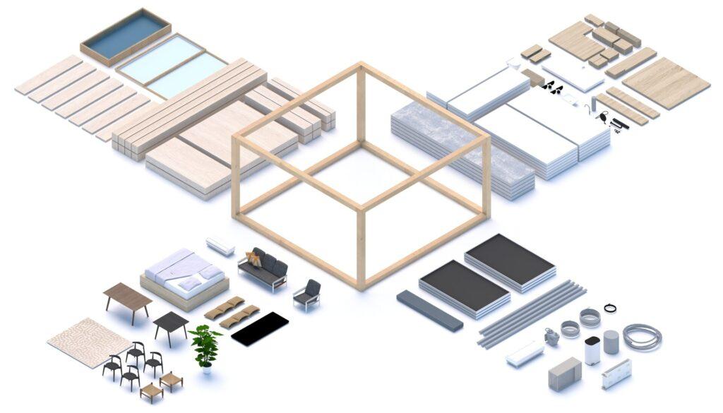 sistema di costruzione modulare del urban village progect